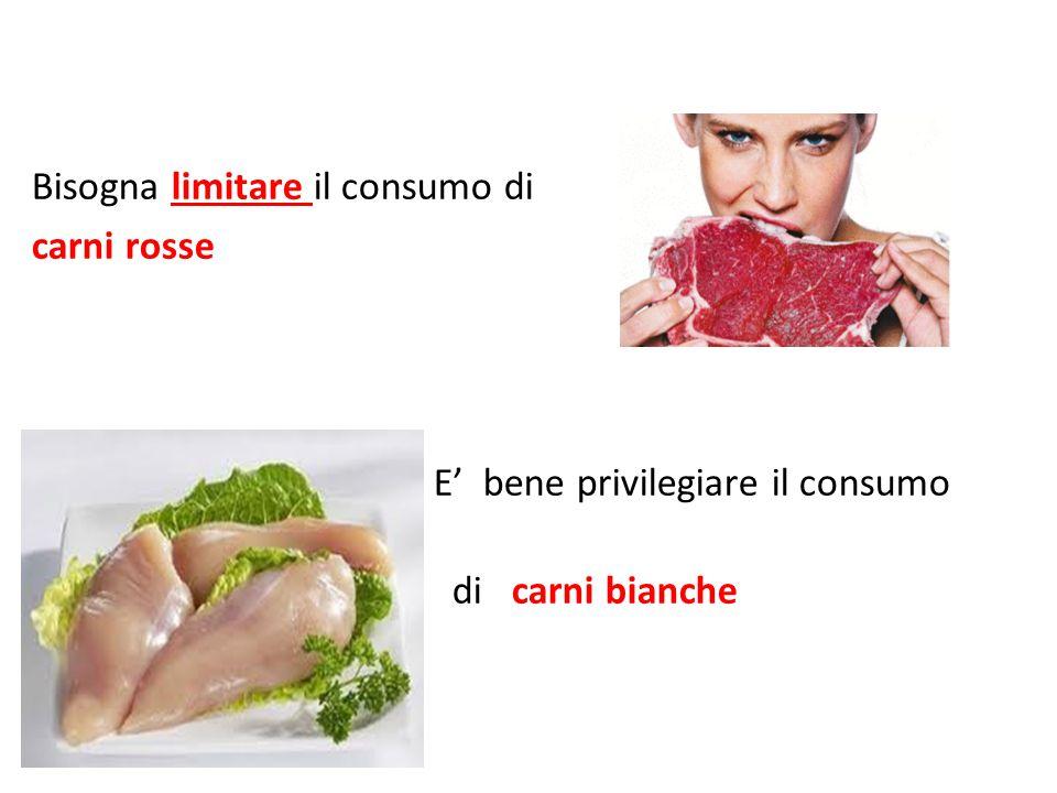 Bisogna limitare il consumo di carni rosse E' bene privilegiare il consumo d di carni bianche