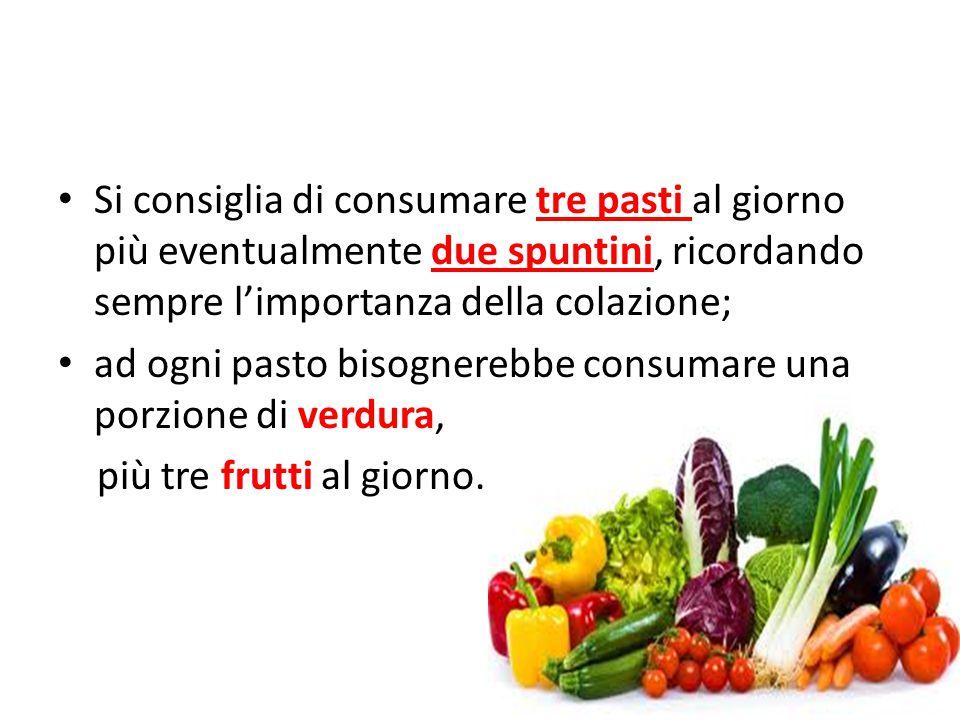 Si consiglia di consumare tre pasti al giorno più eventualmente due spuntini, ricordando sempre l'importanza della colazione; ad ogni pasto bisognerebbe consumare una porzione di verdura, più tre frutti al giorno.