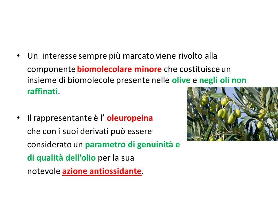 Un interesse sempre più marcato viene rivolto alla componente biomolecolare minore che costituisce un insieme di biomolecole presente nelle olive e negli oli non raffinati.