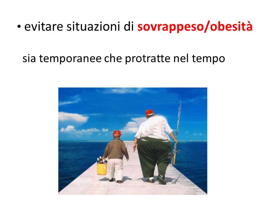 evitare situazioni di sovrappeso/obesità sia temporanee che protratte nel tempo