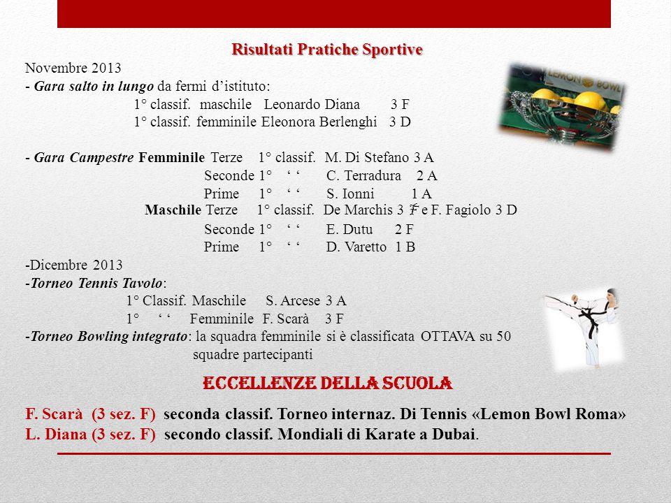 Risultati Pratiche Sportive Novembre 2013 - Gara salto in lungo da fermi d'istituto: 1° classif. maschile Leonardo Diana 3 F 1° classif. femminile Ele