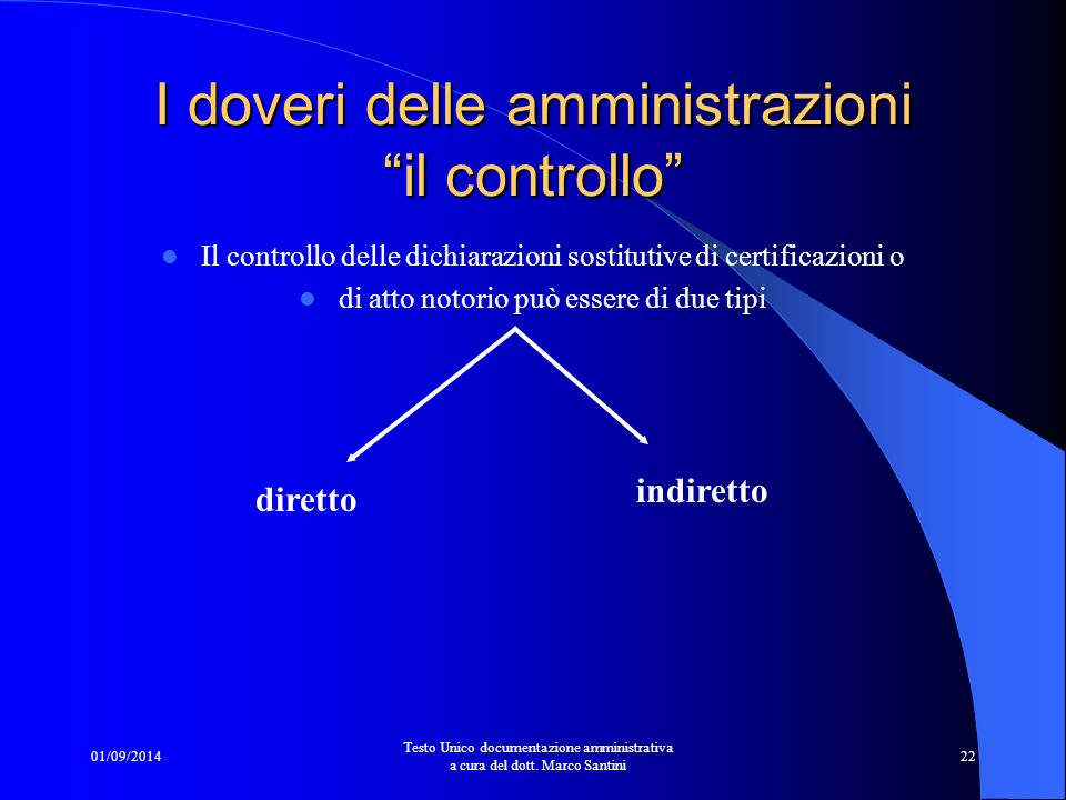 01/09/2014 Testo Unico documentazione amministrativa a cura del dott. Marco Santini 21 La verifica presso l'amministrazione certificante deve avvenire