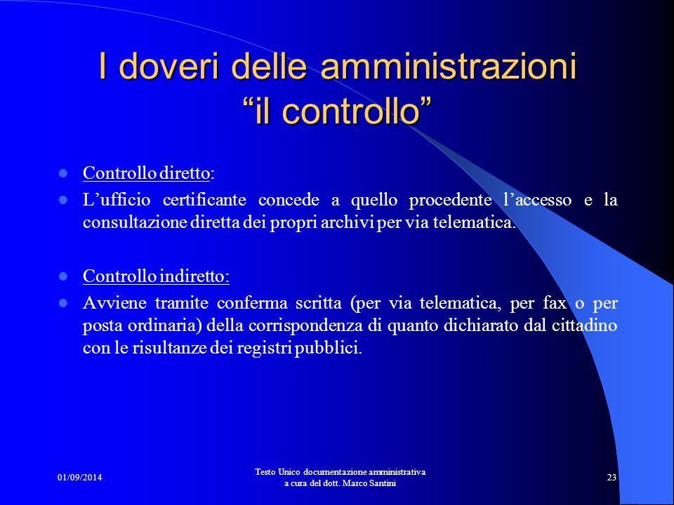 """01/09/2014 Testo Unico documentazione amministrativa a cura del dott. Marco Santini 22 I doveri delle amministrazioni """"il controllo"""" Il controllo dell"""