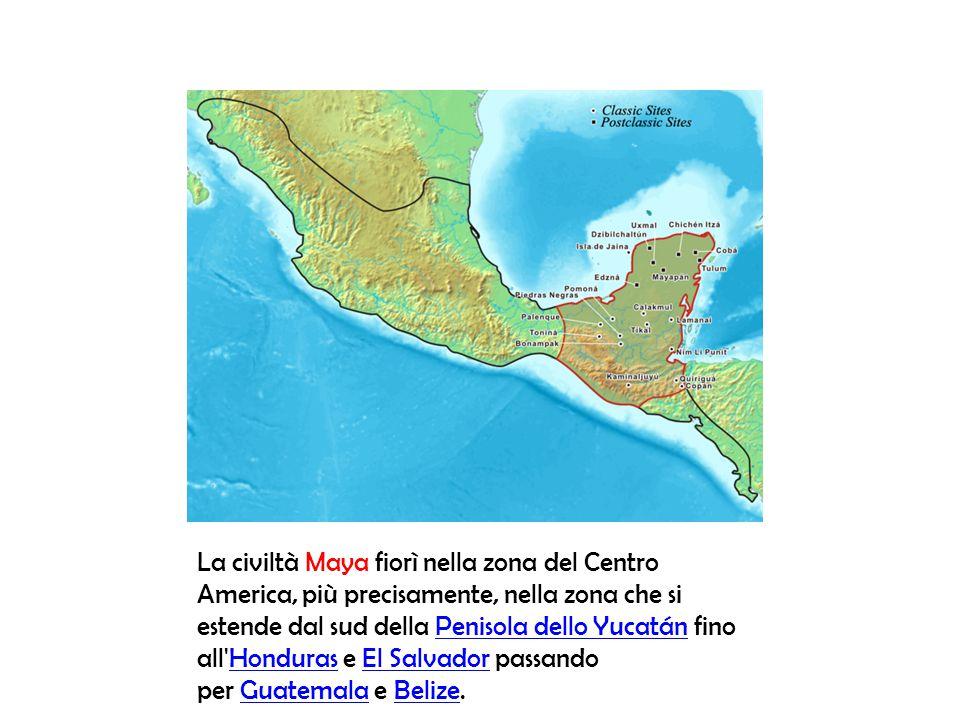 La civiltà Maya fiorì nella zona del Centro America, più precisamente, nella zona che si estende dal sud della Penisola dello Yucatán fino all'Hondura