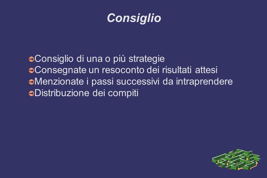 Consiglio ➲ Consiglio di una o più strategie ➲ Consegnate un resoconto dei risultati attesi ➲ Menzionate i passi successivi da intraprendere ➲ Distrib