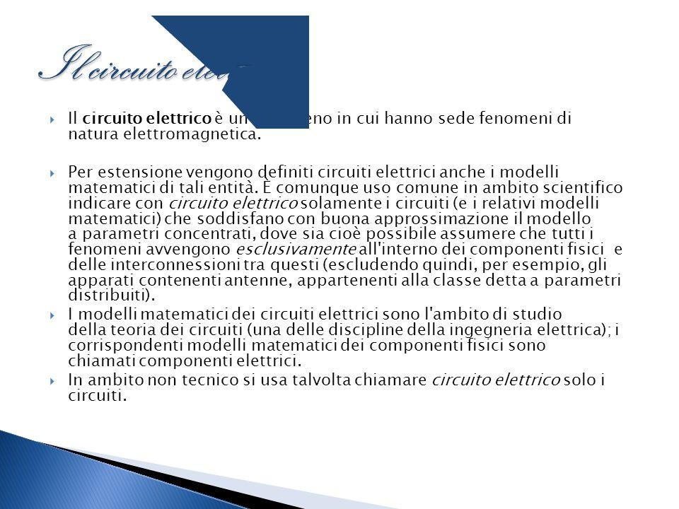  Il circuito elettrico è un fenomeno in cui hanno sede fenomeni di natura elettromagnetica.  Per estensione vengono definiti circuiti elettrici anch