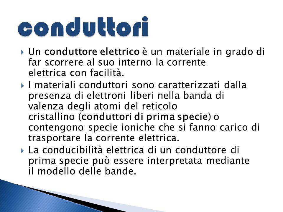  Un conduttore elettrico è un materiale in grado di far scorrere al suo interno la corrente elettrica con facilità.  I materiali conduttori sono car
