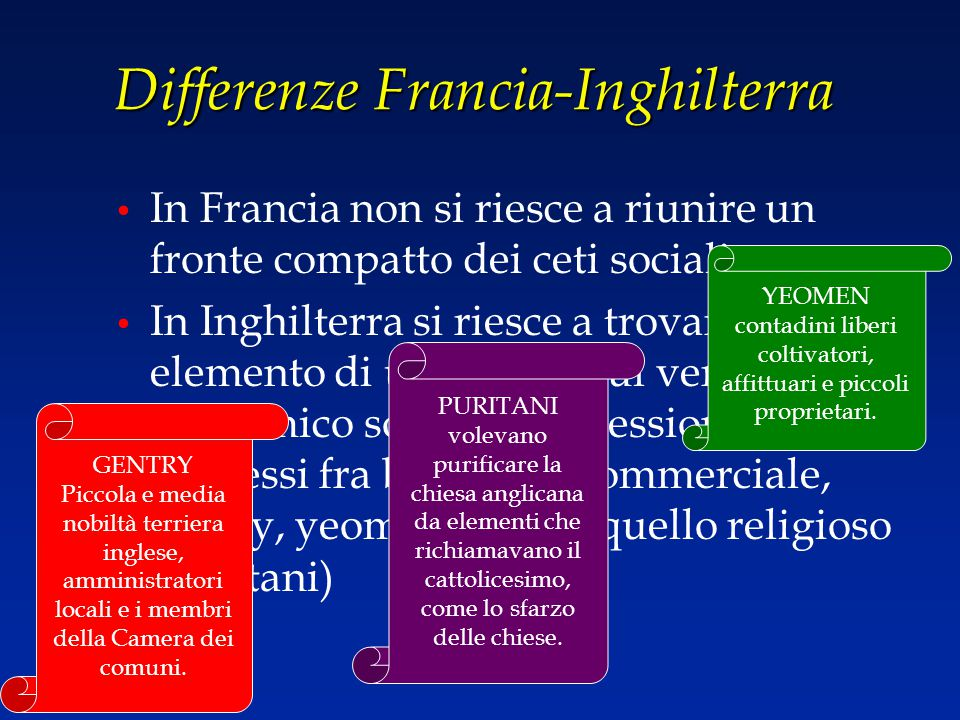 Differenze Francia-Inghilterra In Francia non si riesce a riunire un fronte compatto dei ceti sociali In Inghilterra si riesce a trovare questo elemen