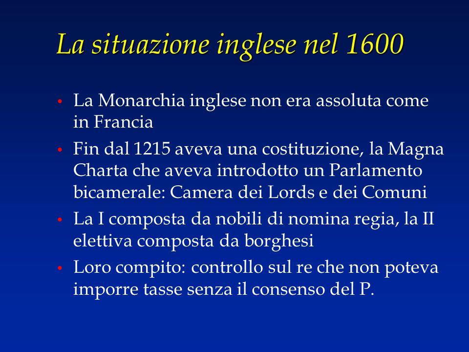 La situazione inglese nel 1600 La Monarchia inglese non era assoluta come in Francia Fin dal 1215 aveva una costituzione, la Magna Charta che aveva in