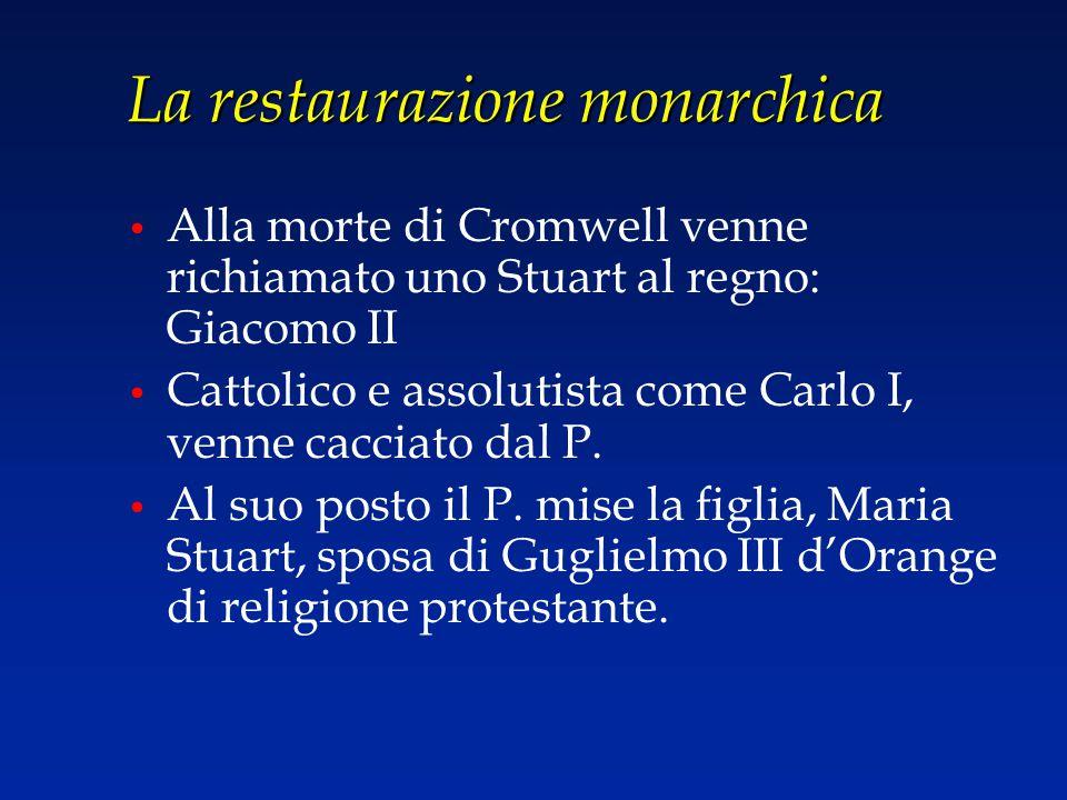 La restaurazione monarchica Alla morte di Cromwell venne richiamato uno Stuart al regno: Giacomo II Cattolico e assolutista come Carlo I, venne caccia