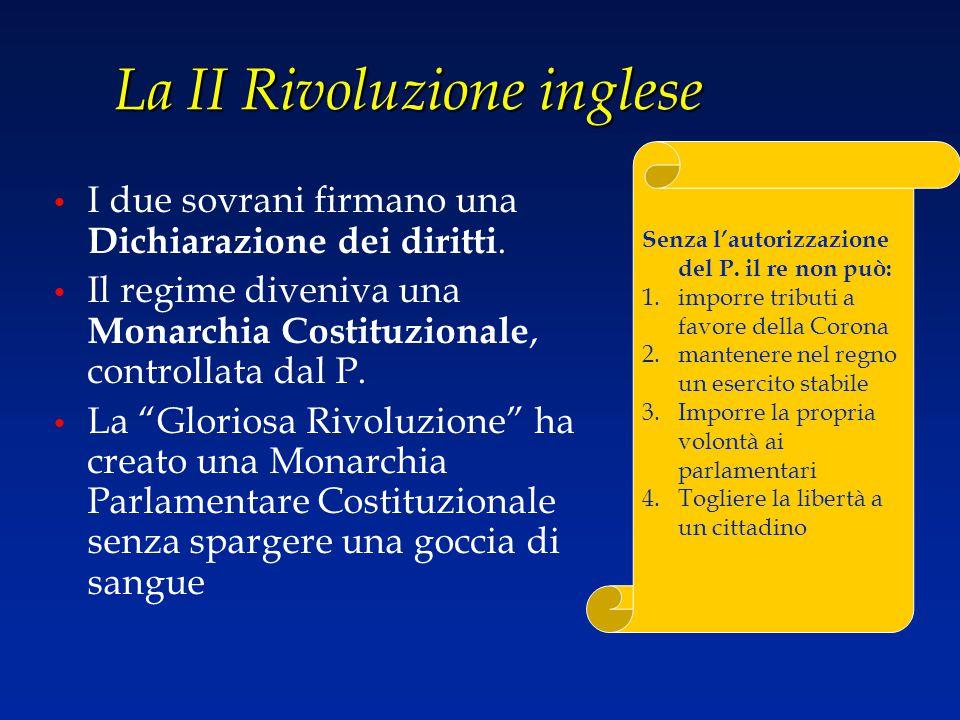 La II Rivoluzione inglese I due sovrani firmano una Dichiarazione dei diritti. Il regime diveniva una Monarchia Costituzionale, controllata dal P. La
