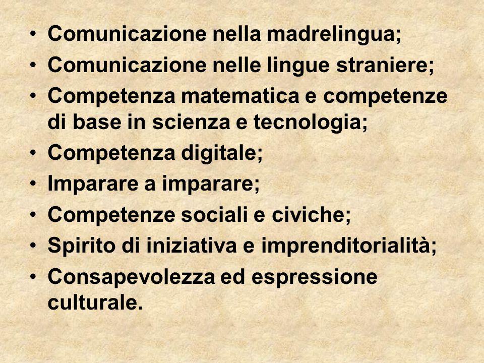 Comunicazione nella madrelingua; Comunicazione nelle lingue straniere; Competenza matematica e competenze di base in scienza e tecnologia; Competenza