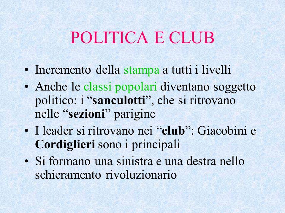 """POLITICA E CLUB Incremento della stampa a tutti i livelli Anche le classi popolari diventano soggetto politico: i """"sanculotti"""", che si ritrovano nelle"""