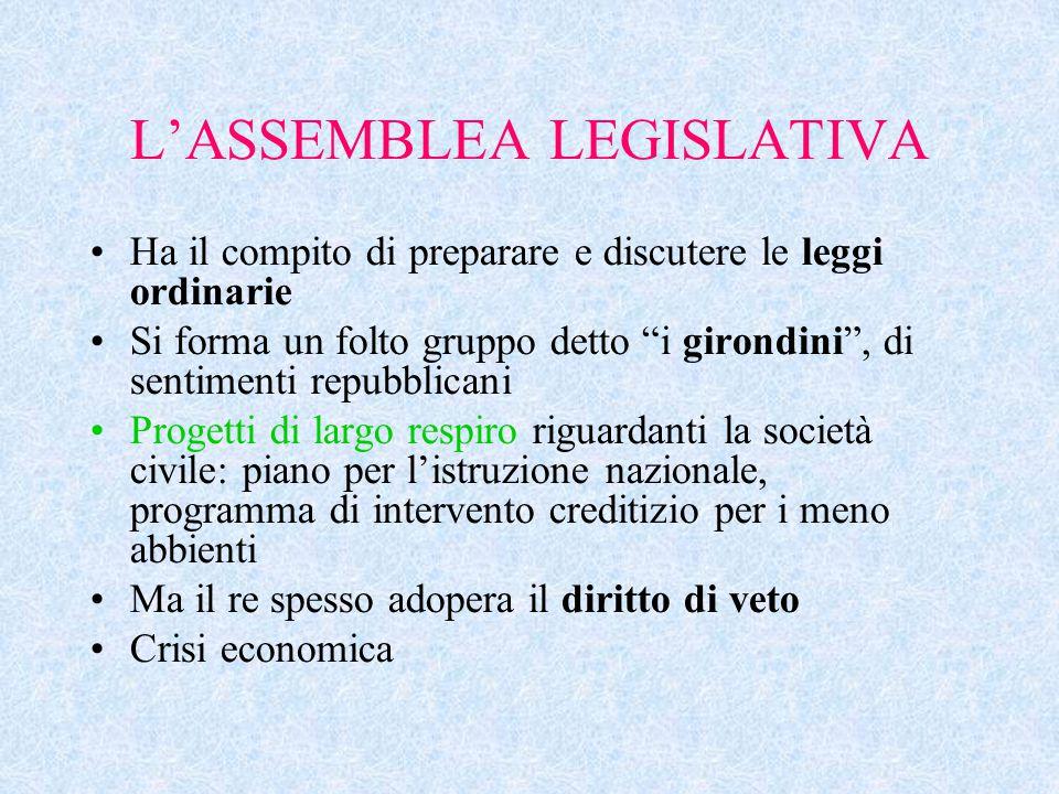 """L'ASSEMBLEA LEGISLATIVA Ha il compito di preparare e discutere le leggi ordinarie Si forma un folto gruppo detto """"i girondini"""", di sentimenti repubbli"""