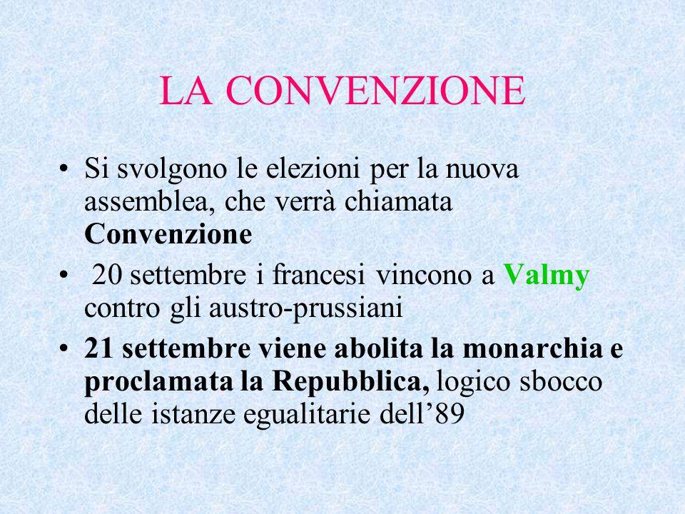 LA CONVENZIONE Si svolgono le elezioni per la nuova assemblea, che verrà chiamata Convenzione 20 settembre i francesi vincono a Valmy contro gli austr