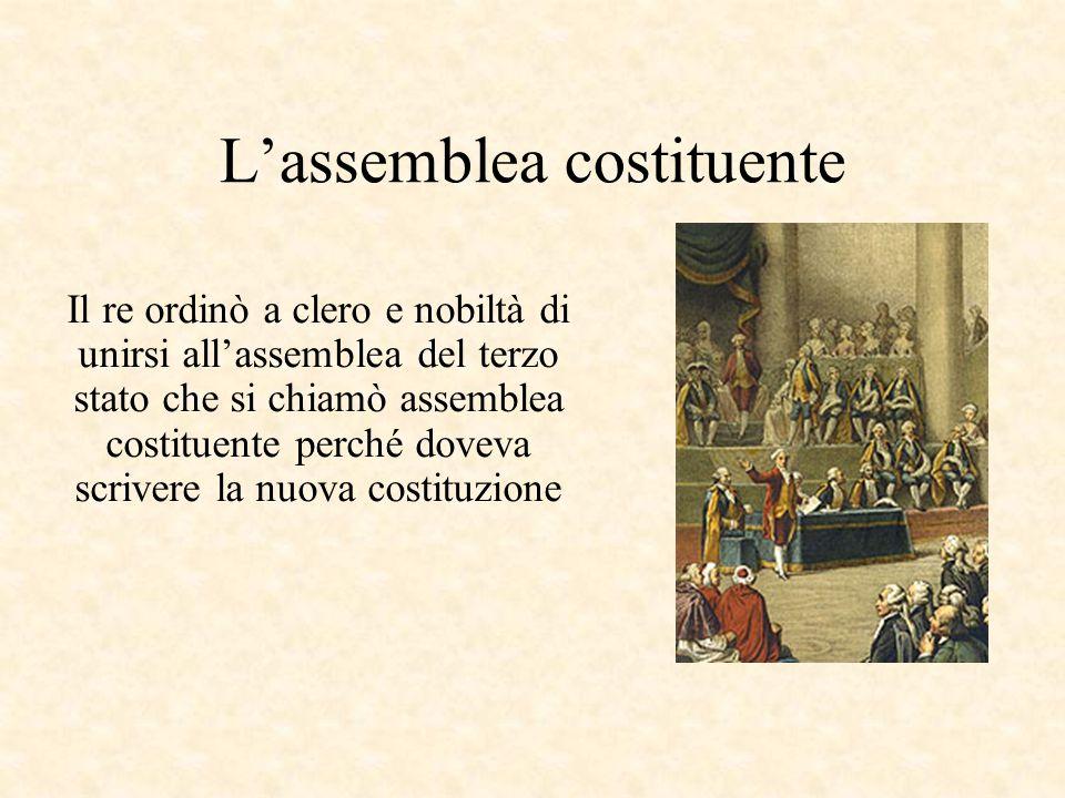 L'assemblea costituente Il re ordinò a clero e nobiltà di unirsi all'assemblea del terzo stato che si chiamò assemblea costituente perché doveva scrivere la nuova costituzione
