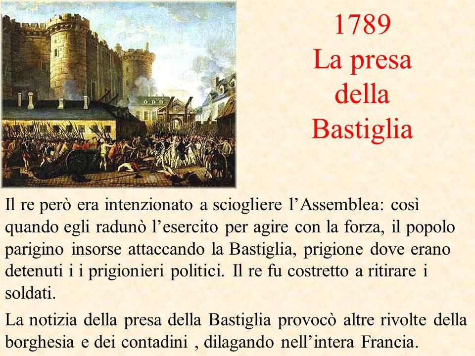 1789 La presa della Bastiglia Il re però era intenzionato a sciogliere l'Assemblea: così quando egli radunò l'esercito per agire con la forza, il popolo parigino insorse attaccando la Bastiglia, prigione dove erano detenuti i i prigionieri politici.