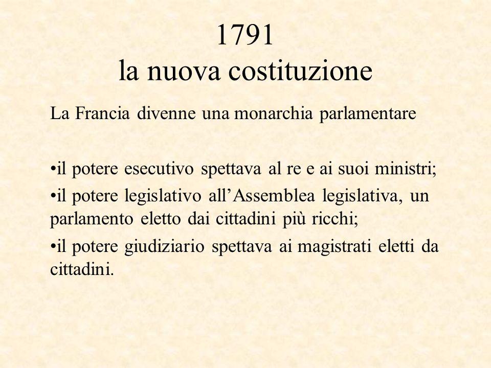 1791 la nuova costituzione La Francia divenne una monarchia parlamentare il potere esecutivo spettava al re e ai suoi ministri; il potere legislativo all'Assemblea legislativa, un parlamento eletto dai cittadini più ricchi; il potere giudiziario spettava ai magistrati eletti da cittadini.
