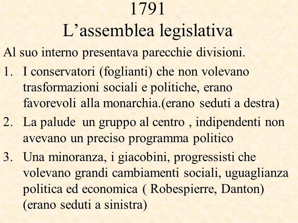 1791 L'assemblea legislativa Al suo interno presentava parecchie divisioni. 1.I conservatori (foglianti) che non volevano trasformazioni sociali e pol