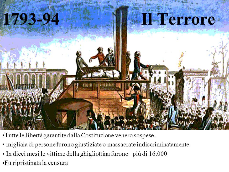 1793-94 Il Terrore Tutte le libertà garantite dalla Costituzione venero sospese. migliaia di persone furono giustiziate o massacrate indiscriminatamen