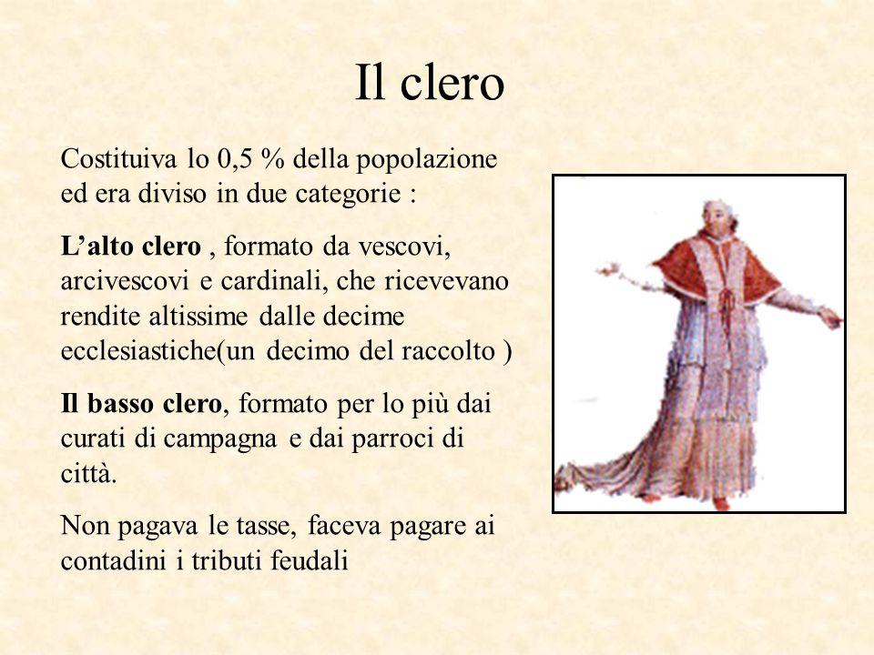 Il clero Costituiva lo 0,5 % della popolazione ed era diviso in due categorie : L'alto clero, formato da vescovi, arcivescovi e cardinali, che ricevev