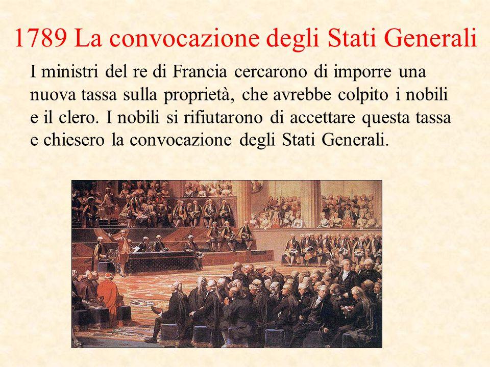 1789 La convocazione degli Stati Generali I ministri del re di Francia cercarono di imporre una nuova tassa sulla proprietà, che avrebbe colpito i nobili e il clero.