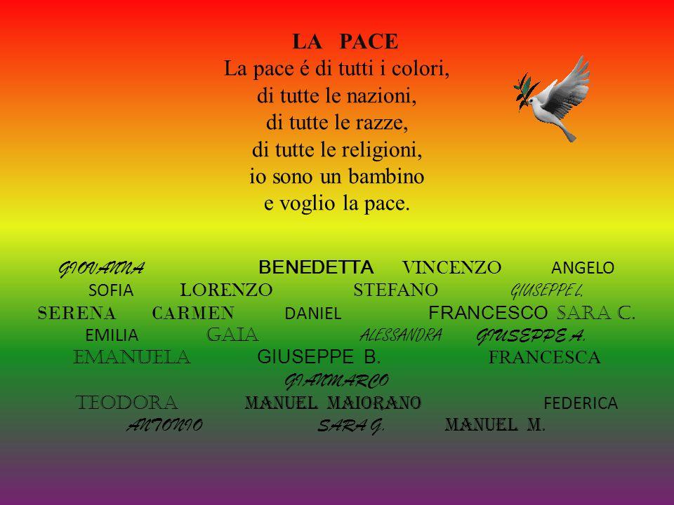 Dare una mano a chi soffre.(Manuel Maiorano) La pace è un diritto di tutti i bambini.(Daniel) Nel mondo non deve esserci la guerra,ma la pace.(Giuseppe B).