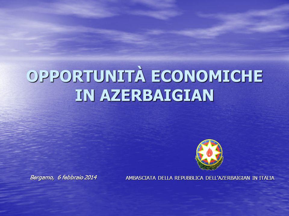 OPPORTUNITÀ ECONOMICHE IN AZERBAIGIAN Bergamo, 6 febbraio 2014 Bergamo, 6 febbraio 2014 AMBASCIATA DELLA REPUBBLICA DELL'AZERBAIGIAN IN ITALIA