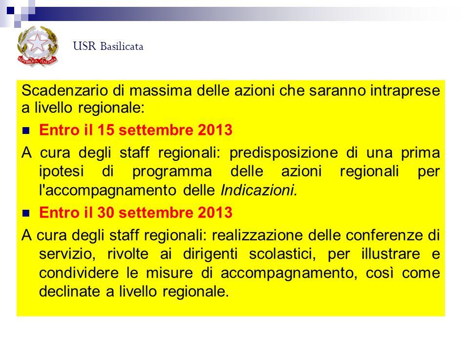 Scadenzario di massima delle azioni che saranno intraprese a livello regionale: Entro il 15 settembre 2013 A cura degli staff regionali: predisposizio