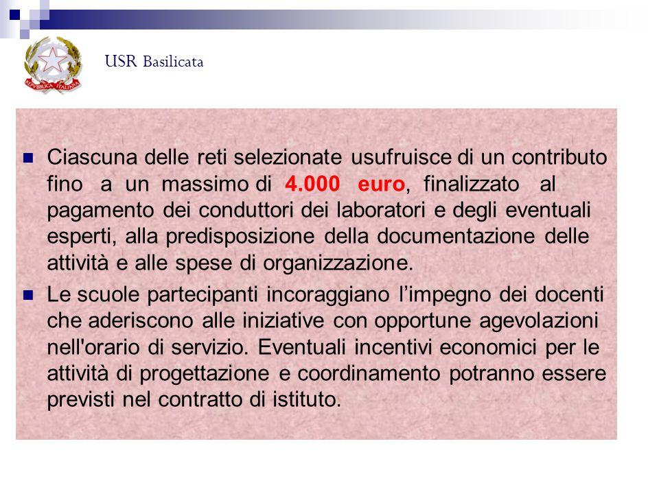 Ciascuna delle reti selezionate usufruisce di un contributo fino a un massimo di 4.000 euro, finalizzato al pagamento dei conduttori dei laboratori e