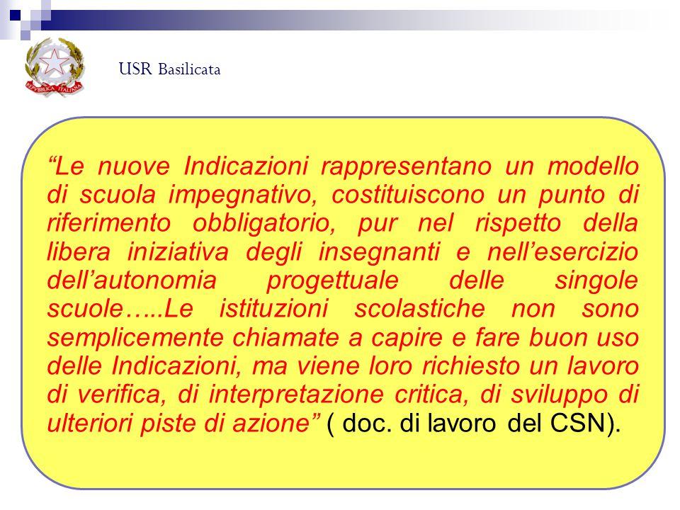 """USR Basilicata """"Le nuove Indicazioni rappresentano un modello di scuola impegnativo, costituiscono un punto di riferimento obbligatorio, pur nel rispe"""