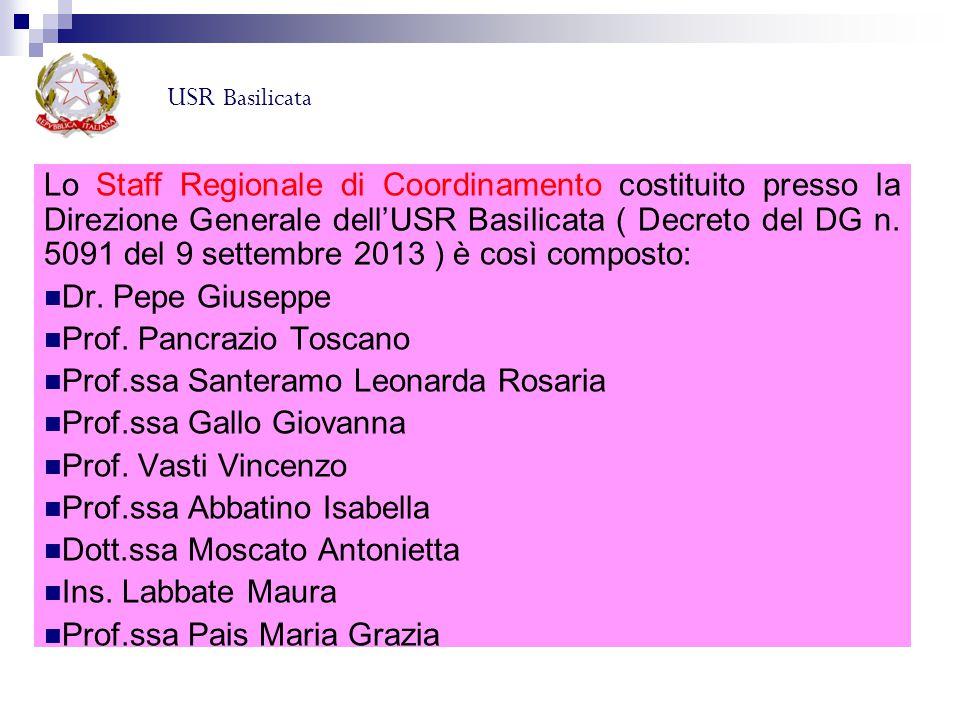 Lo Staff Regionale di Coordinamento costituito presso la Direzione Generale dell'USR Basilicata ( Decreto del DG n. 5091 del 9 settembre 2013 ) è così
