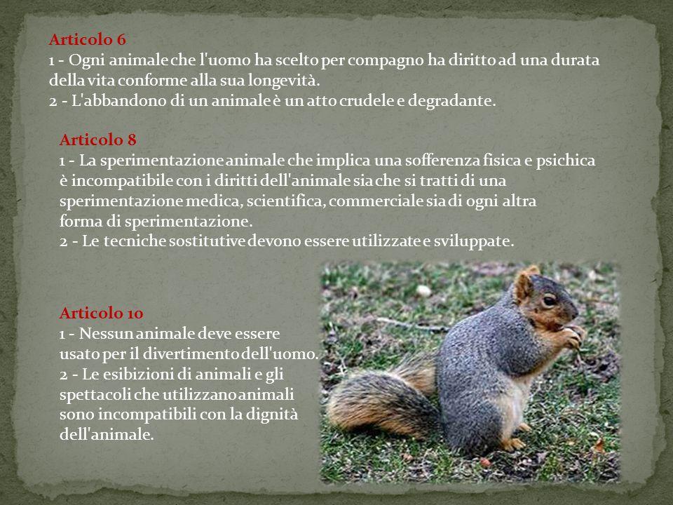 Articolo 11 1 - Ogni atto che comporti l uccisione di un animale senza necessità è biocidio, cioè un delitto contro la vita.