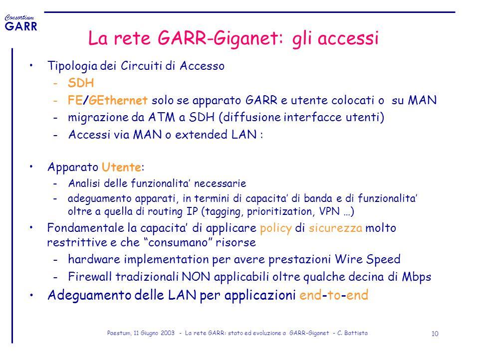 Consortium GARR Paestum, 11 Giugno 2003 - La rete GARR: stato ed evoluzione a GARR-Giganet - C. Battista 10 La rete GARR-Giganet: gli accessi Tipologi