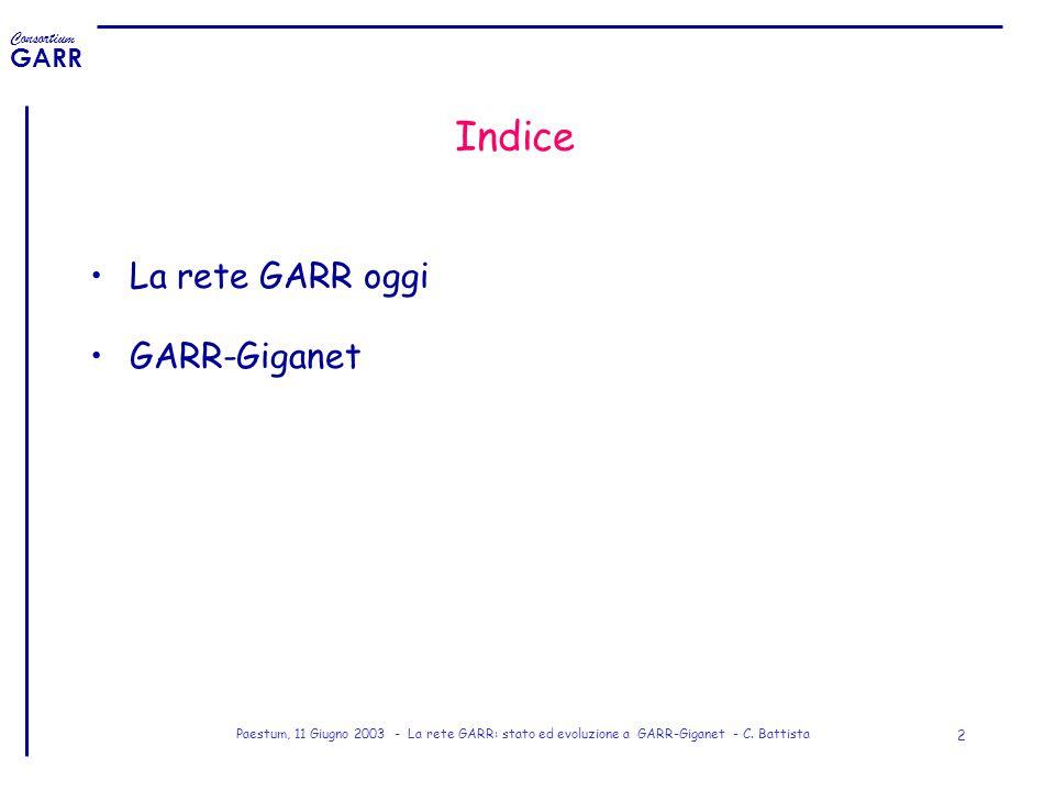 Consortium GARR Paestum, 11 Giugno 2003 - La rete GARR: stato ed evoluzione a GARR-Giganet - C. Battista 2 Indice La rete GARR oggi GARR-Giganet
