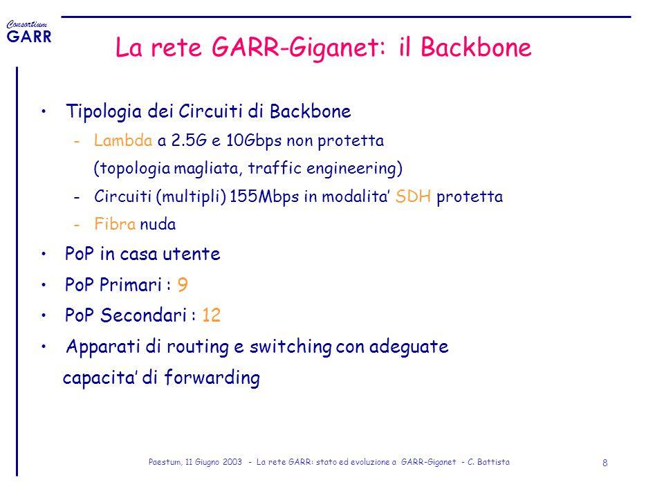 Consortium GARR Paestum, 11 Giugno 2003 - La rete GARR: stato ed evoluzione a GARR-Giganet - C. Battista 8 La rete GARR-Giganet: il Backbone Tipologia