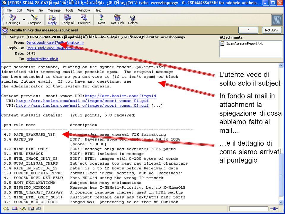 Michele Michelotto - Padova L'utente vede di solito solo il subject In fondo al mail in attachment la spiegazione di cosa abbiamo fatto al mail… …e il dettaglio di come siamo arrivati al punteggio