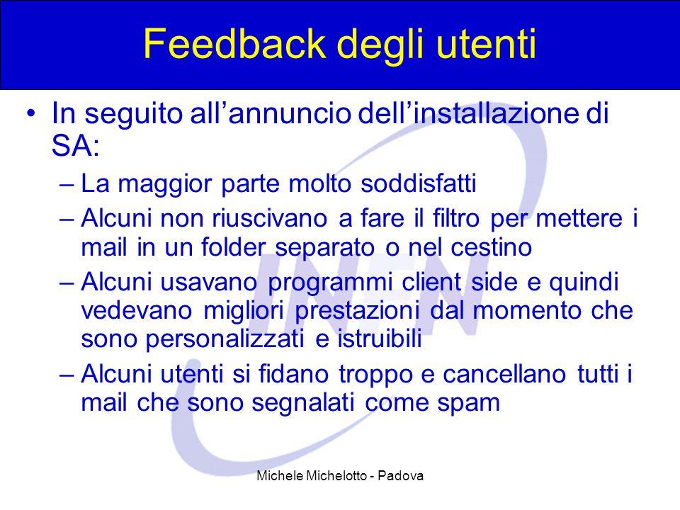 Michele Michelotto - Padova Feedback degli utenti In seguito all'annuncio dell'installazione di SA: –La maggior parte molto soddisfatti –Alcuni non ri