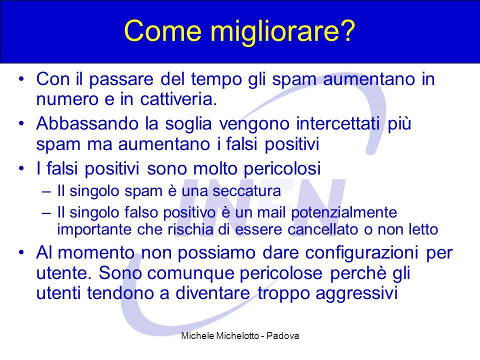 Michele Michelotto - Padova Come migliorare? Con il passare del tempo gli spam aumentano in numero e in cattiveria. Abbassando la soglia vengono inter