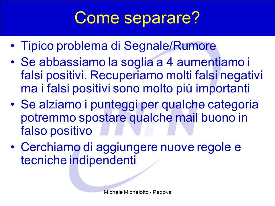 Michele Michelotto - Padova Come separare? Tipico problema di Segnale/Rumore Se abbassiamo la soglia a 4 aumentiamo i falsi positivi. Recuperiamo molt