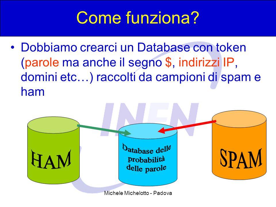 Michele Michelotto - Padova Come funziona? Dobbiamo crearci un Database con token (parole ma anche il segno $, indirizzi IP, domini etc…) raccolti da
