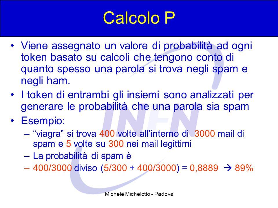 Michele Michelotto - Padova Calcolo P Viene assegnato un valore di probabilità ad ogni token basato su calcoli che tengono conto di quanto spesso una parola si trova negli spam e negli ham.