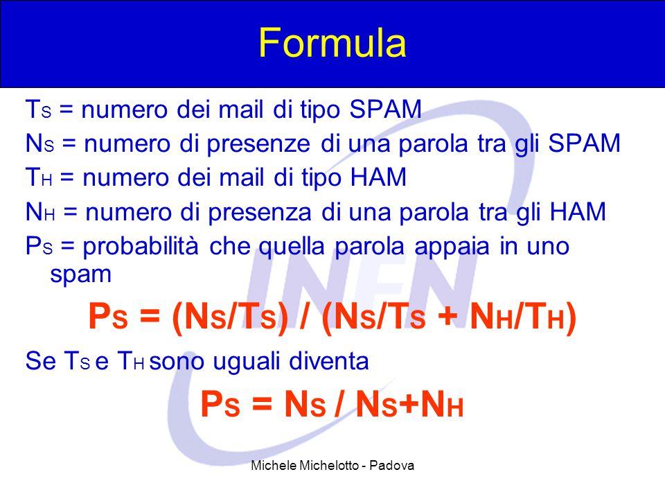 Michele Michelotto - Padova Formula T S = numero dei mail di tipo SPAM N S = numero di presenze di una parola tra gli SPAM T H = numero dei mail di ti