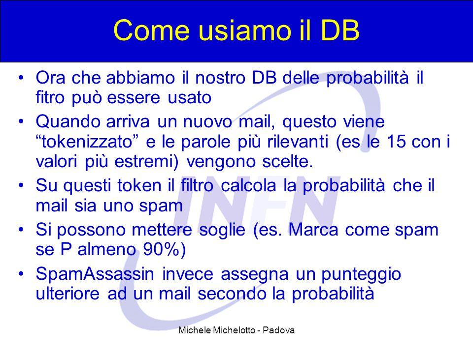 Michele Michelotto - Padova Come usiamo il DB Ora che abbiamo il nostro DB delle probabilità il fitro può essere usato Quando arriva un nuovo mail, questo viene tokenizzato e le parole più rilevanti (es le 15 con i valori più estremi) vengono scelte.