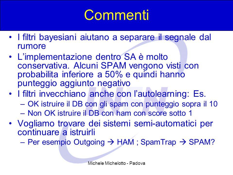 Michele Michelotto - Padova Commenti I filtri bayesiani aiutano a separare il segnale dal rumore L'implementazione dentro SA è molto conservativa.