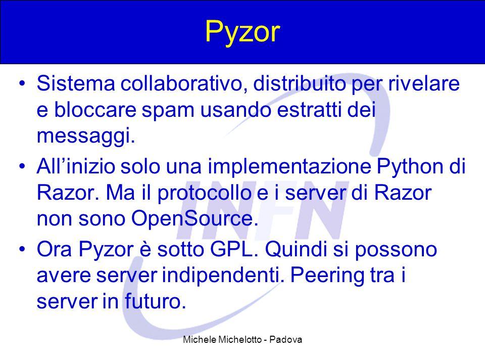 Michele Michelotto - Padova Pyzor Sistema collaborativo, distribuito per rivelare e bloccare spam usando estratti dei messaggi. All'inizio solo una im