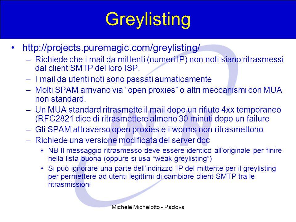 Michele Michelotto - Padova Greylisting http://projects.puremagic.com/greylisting/ –Richiede che i mail da mittenti (numeri IP) non noti siano ritrasmessi dal client SMTP del loro ISP.