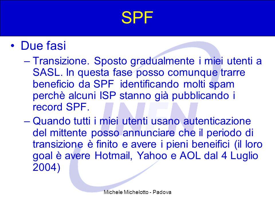 Michele Michelotto - Padova SPF Due fasi –Transizione. Sposto gradualmente i miei utenti a SASL. In questa fase posso comunque trarre beneficio da SPF