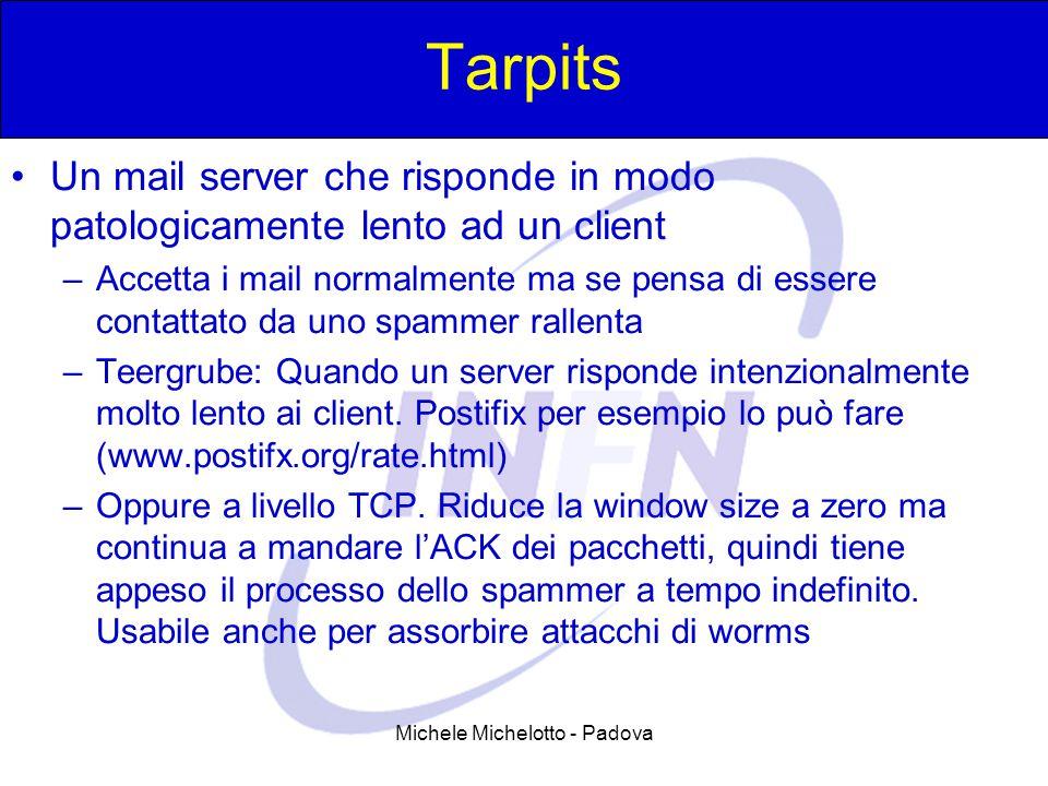 Michele Michelotto - Padova Tarpits Un mail server che risponde in modo patologicamente lento ad un client –Accetta i mail normalmente ma se pensa di essere contattato da uno spammer rallenta –Teergrube: Quando un server risponde intenzionalmente molto lento ai client.