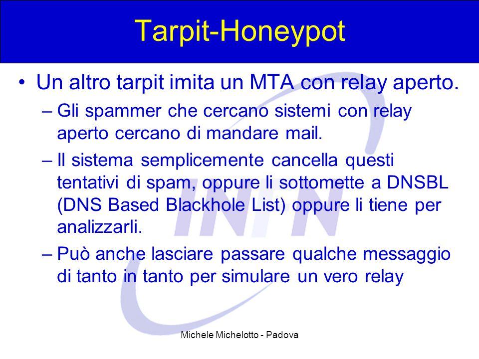 Michele Michelotto - Padova Tarpit-Honeypot Un altro tarpit imita un MTA con relay aperto. –Gli spammer che cercano sistemi con relay aperto cercano d